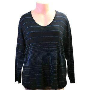Addition elle black soft v neck sweater size 4X